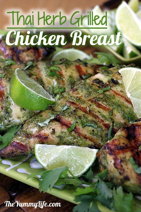 Thai Herb Grilled Chicken Breasts. A coconut milk & herb marinade makes tender, moist chicken.  www.theyummylife.com/Thai_Grilled_Chicken_Breasts
