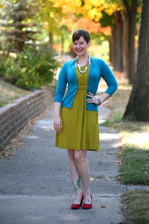 Already Pretty outfit featuring teal cardigan, lime green dress, red suede  pumps, Lydell
