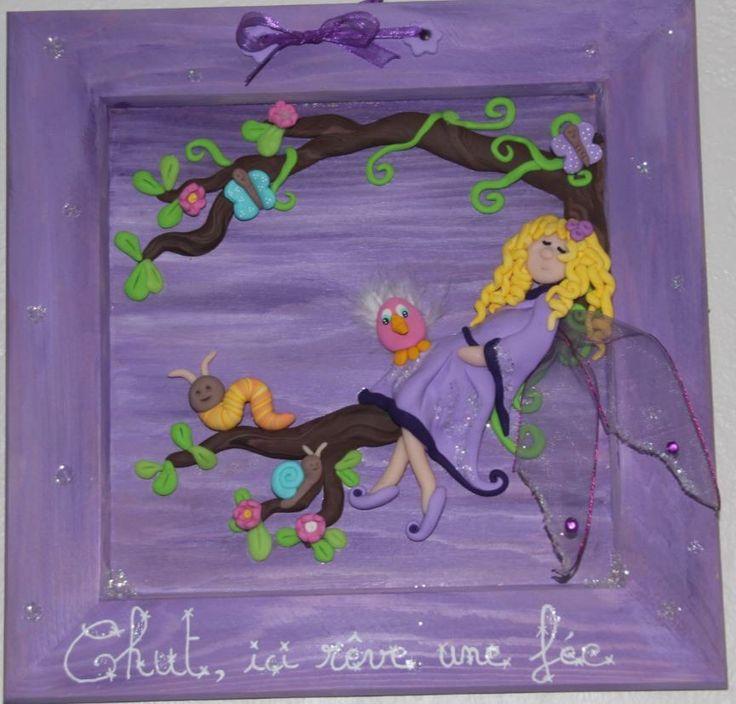 """Cadre chambre d'enfants """"Chut, ici rêve une fée"""" : Décorations murales par id-dom-fimo"""
