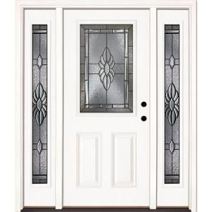 Feather River Doors 63 5 In X 81 625 In Sapphire Patina 1 2 Lite Unfinished Smooth Left Hand Fiberglass Prehung Front Door With Sidelites