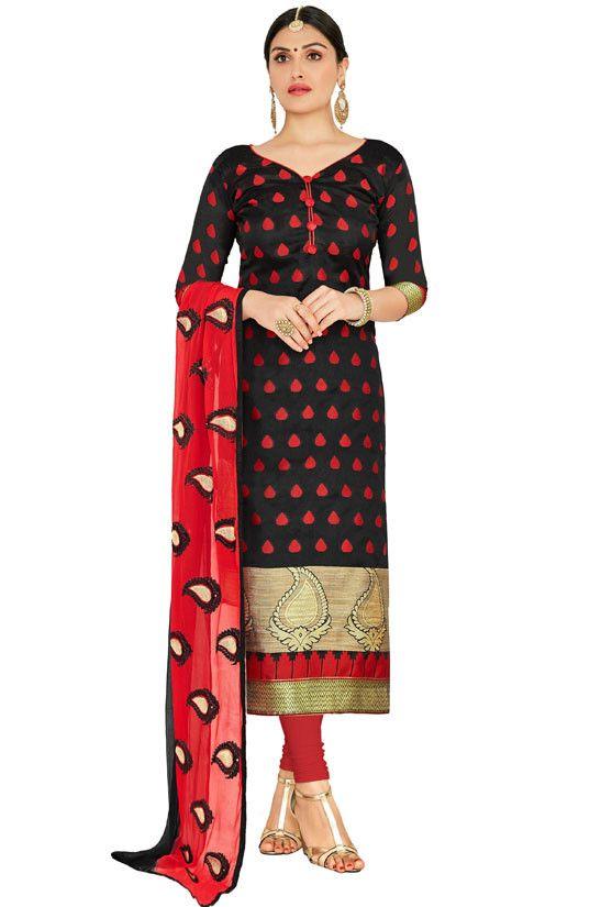 Black Banarasi Jacquard Suit