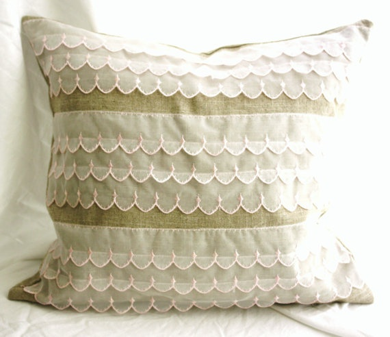 Feather pillow Linen and pink ruffles by Milk and Honey Luxuries