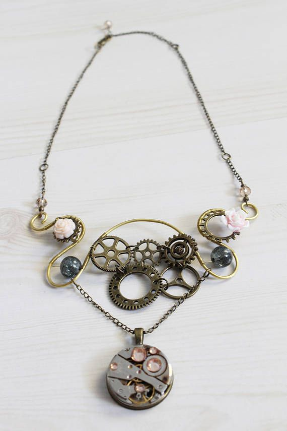 Symetric steampunk necklace in art nouveau motive handmade