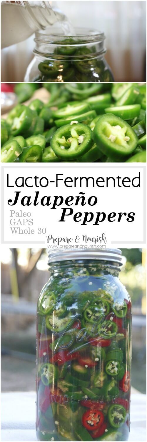 Lacto-Fermented Jalapeño Peppers - easy recipe with unrefined salt to top your favorite dishes. A great Paleo, GAPS or Whole30 condiment. via @preparenourish