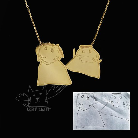 Handmade silver personalized jewelry, custom made gold plated silver necklaces from your children's drawings, kids drawing jewellery