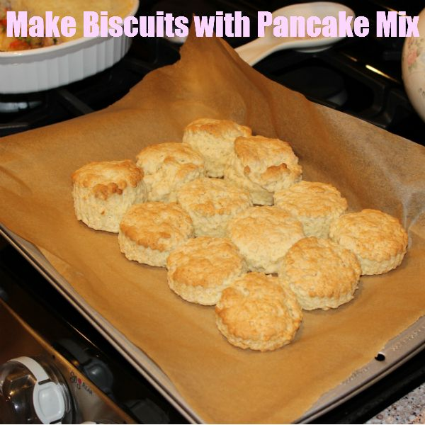 Yes you can make biscuits with pancake mix! Stock up on this versatile ingredient!