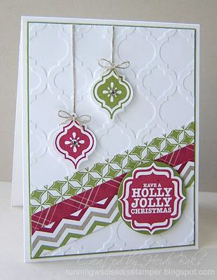 "Lovely Modern Mosaic ""Holly Jolly"" Christmas Card...Heidi Baks: RunningwScissorsStamper."