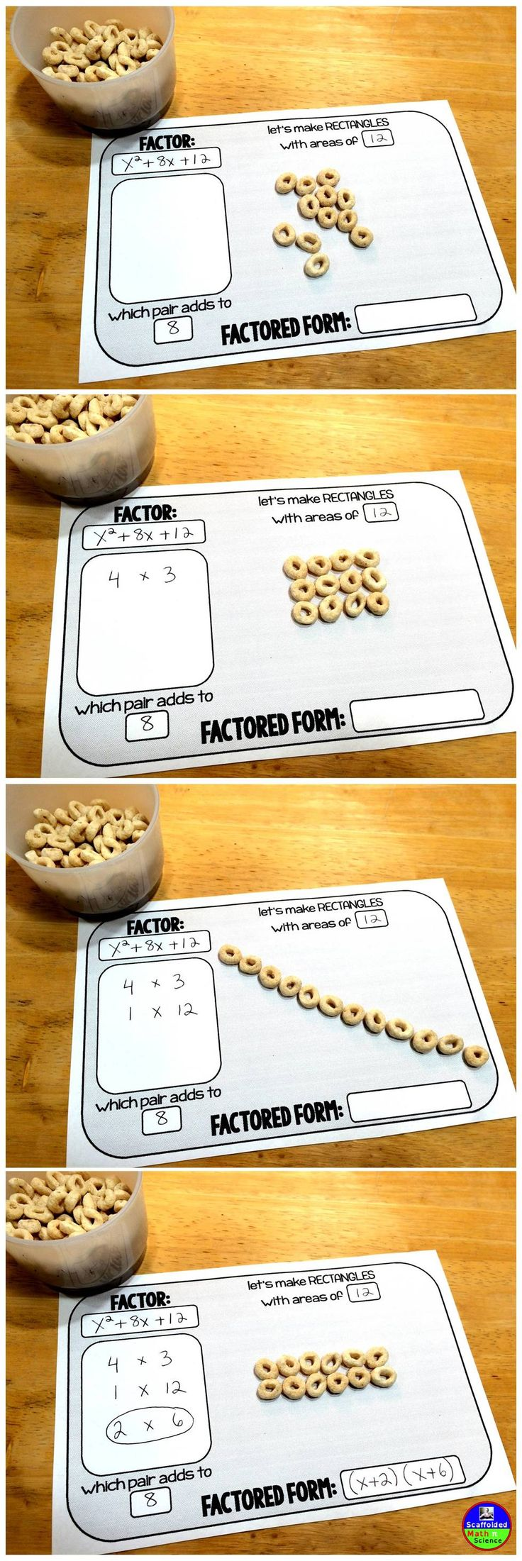 Using cereal to introduce FACTORING trinomials in Algebra. -         Repinned by Chesapeake College Adult Ed. We offer free classes on the Eastern Shore of MD to help you earn your GED - H.S. Diploma or Learn English (ESL) .   For GED classes contact Danielle Thomas 410-829-6043 dthomas@chesapeke.edu  For ESL classes contact Karen Luceti - 410-443-1163  Kluceti@chesapeake.edu .  www.chesapeake.edu