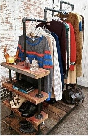 Iron pipes do the old retro shoe rack clothing display racks Coat hangers