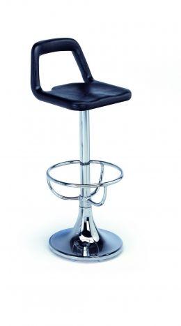 Modelo: 107      Colección: Hostelería Taburete, estructura en tubo de acero y peana redonda con reposapies, asiento integral o tapizado, alt.76