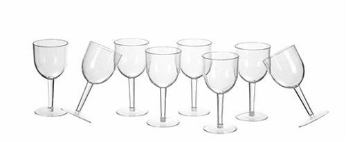 CreativeWare Unbreakable Wine Glass, Set of 8 by CreativeWare. $20.97. Set of 8 unbreakable wine glasses. Dishwasher safe. Great for indoor or outdoor entertaining. Made from unbreakable material. This set of eight wine glasses is made from unbreakable plastic that makes this great for indoor and outdoor entertaining.  Dishwashwer safe for easy cleaning.