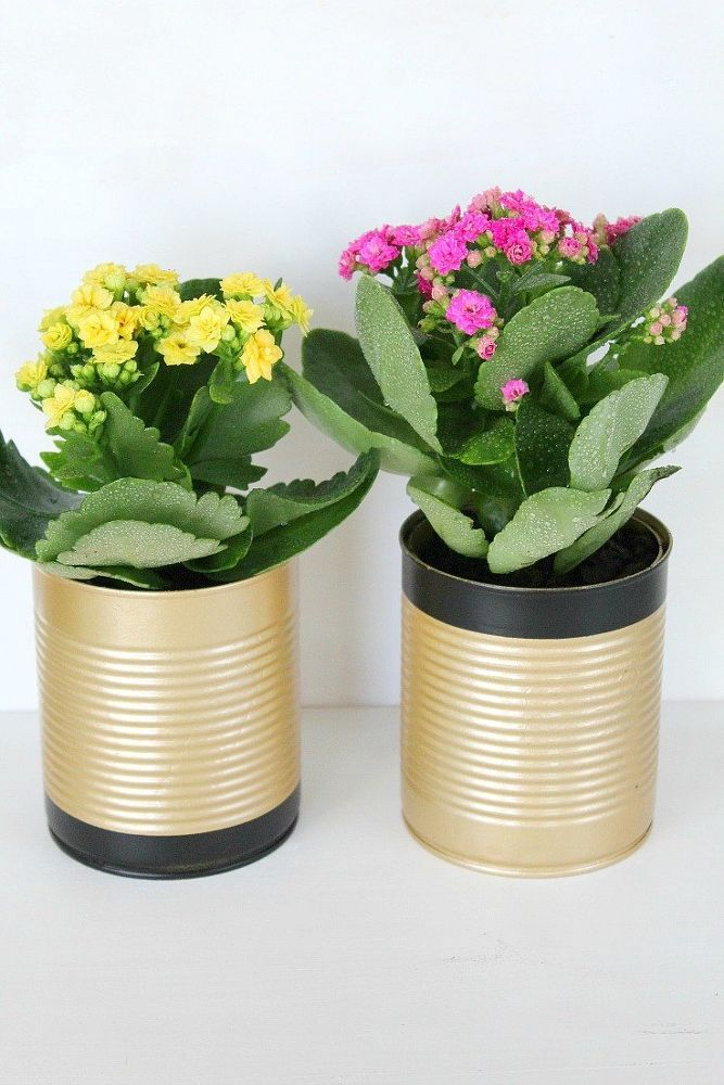 15 Cute Ways To Decorate Tin Cans Into Planters Diy Flower Pots Tin Can Flowers Recycled Tin Cans
