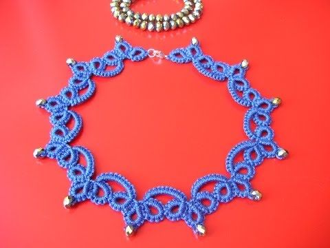 21' TUTORIAL SEMPLICE COLLANA CHIACCHIERINO AD AGO EASY NECKLACE NEEDLE TATTING - YouTube