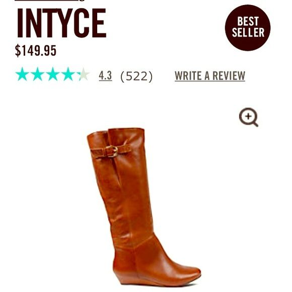 Used Steve Madden Intyce Boots Used--as shown in following pictures. Fair condition. cognac color. Slight Wedged heel. Size 5.5, I normally wear size 6, but these fit me! Steve Madden Shoes