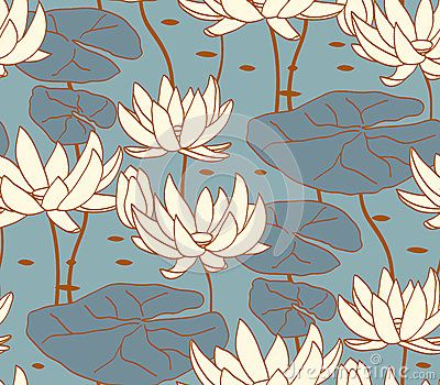Vintage water lily seamless pattern. Classic chinese motif. Decoration for wallpaper or textile