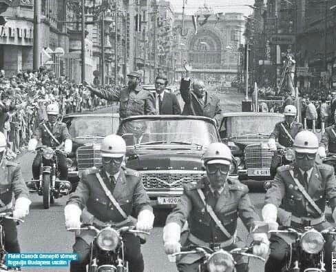 1972. Fidel Castro és Kádár János a Rákóczi úton.