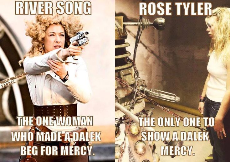 The Doctor's two true loves. Both women reflect who the Doctor was and what he needed during his respective generations. War torn, the Ninth (and Tenth) Doctor needed Rose to show them what mercy, and even love, looked like. As for Eleven, he needed a strong and bold woman to offset his feigned simplicity. That's where River came in.
