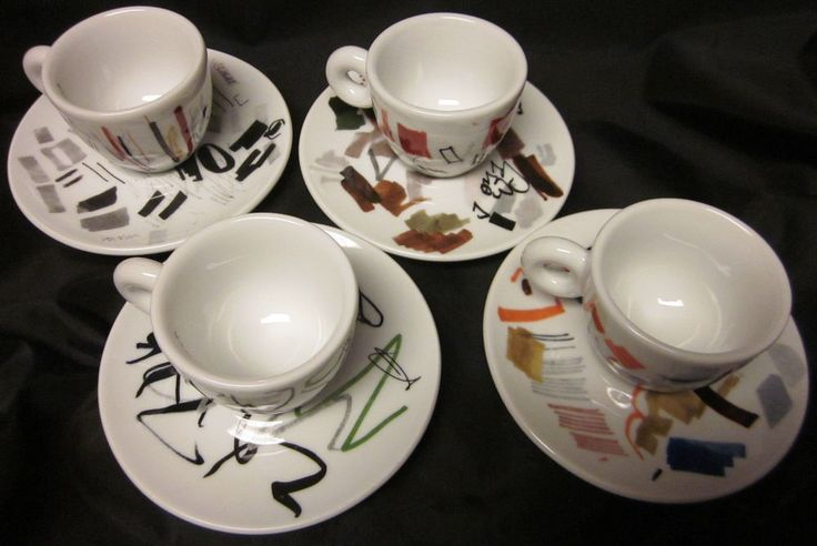 """Espresso cups #illyCollection Pen Test modern design. 03-16-14 ILLY COLLECTION ITALY ESPRESSO CUP PEN TEST PADRAIG TIMONEY SET 4 SIGNED 4.5"""""""