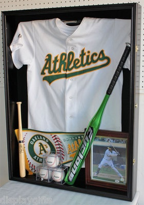 Baseball shadow box. Jersey, large and small bats, pennant, balls and photo.