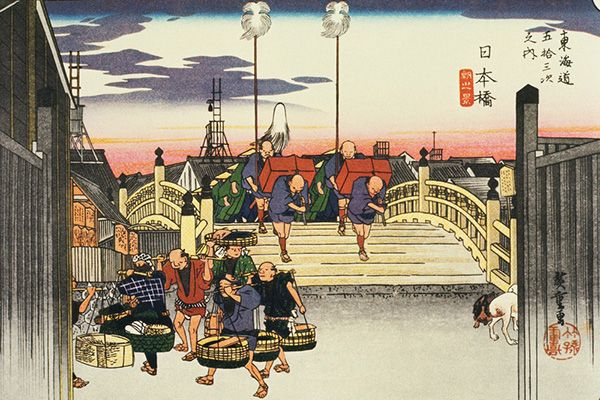Nihonbashi, Tokyo As the sun begins to rise, a feudal lord and his retinue embark on their journey from Nihonbashi, with fishmongers scurrying past the head of the procession. A bridge officially designated as the starting point of Japan's five major highways in 1604, Nihonbashi was romanticised by Hiroshige and many other ukiyo-e artists as the bustling heart of Edo, old Tokyo.
