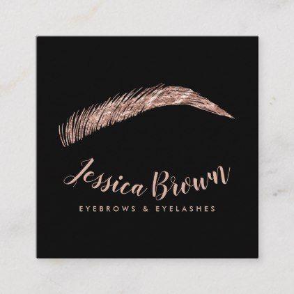 Eyebrow lashes luxury rose gold glitter name glam square business card | Zazzle.com
