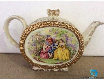 Vintage SADLER TEAPOT Crinoline Victorian Ladies with Cherubs Courting Scene Porcelain Gold Trim - England