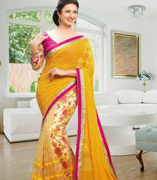 Buy yellow printed pure georgette saree with blouse printed-saree online