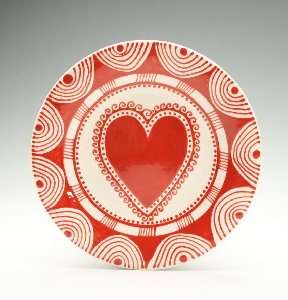 Bohemian Heart Plate Hand Painted Red and White Salad Plate Dinnerware & 189 best Valentineu0027s Day Pottery Ideas images on Pinterest | Pottery ...