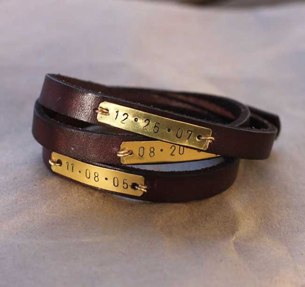 DIY Bracelets! Metal Stamped Leather Wrap Bracelet | Cool Jewelry Making Ideas http://diyready.com/metal-stamping-ideas-diy-projects/