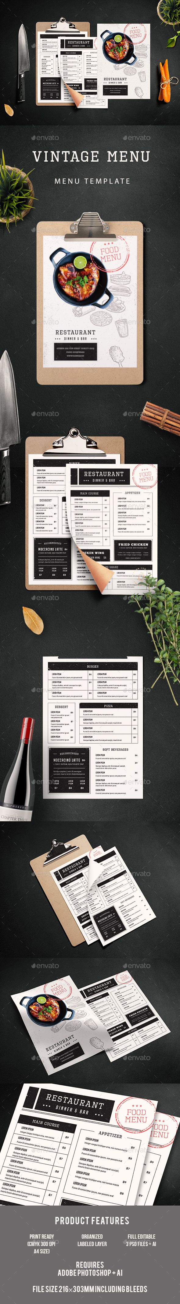 Vintage Menu — Photoshop PSD #bistro #burger menu • Download ➝ https://graphicriver.net/item/vintage-menu/19198851?ref=pxcr