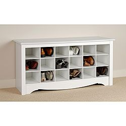Store your shoes in the same place you put them with this dual purpose Winslow shoe storage bench. This cubbie-type storage bench is a great addition to a front entryway, mudroom, or utility room and features 18 storage compartments for shoes.