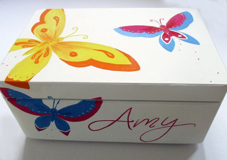 Personalized Butterfly Keepsake Box / Memory Box / Personalised Kids Storage Box /Nursery Decor / Girls Bedroom by WithHugsandKisses on Etsy