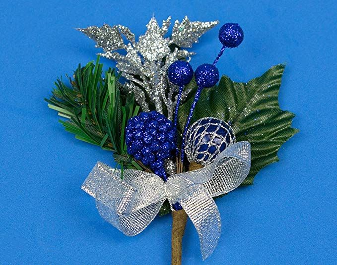 6 Christmas Floristry Picks with Blue Berries /& Silver Trim