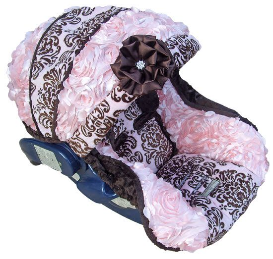 Pink & Brown Damask Carseat Cover, Baby Helena Rose Carseat Cover// if I decide to get a cover instead of just buying a matching collection