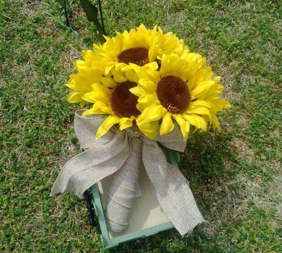 Sunflower Bouquet Yellow Sunflower Bridal by SilkFlowersByJean