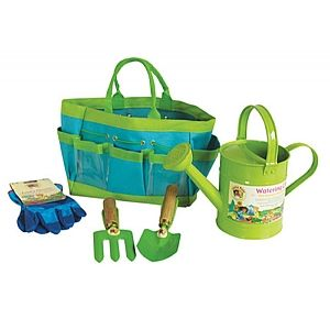 Tools+and+accessories+for+planting+and+growing+in+the+garden.+Our+Childrens+Garden+Kit+contains+a+watering+can,+hand+fork+and+hand+trowel+with+wooden+handles.+A+pair+of+rigger+style+cotton+gloves+completes+the+garden+kit+which+is+contained+in+a+tool+bag+with+handy+pockets.+|+From+Spotty+Green+Frog