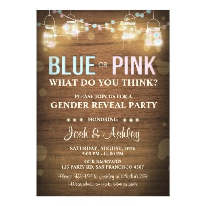 #party - #Gender reveal party invitation Rustic Wood Shower