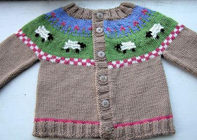 Looking Glass Knits: Sheep Yoke Baby Cardigan Pattern