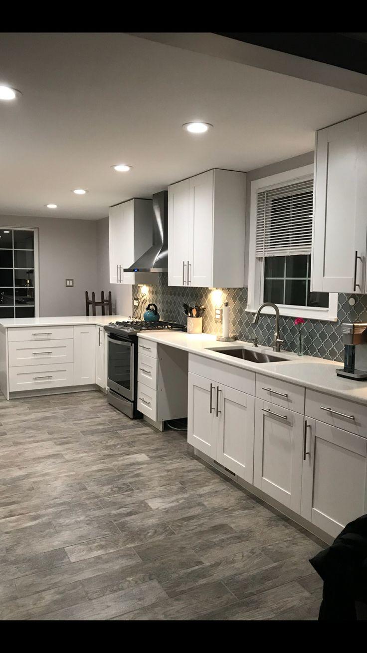 this exact color scheme white cabinets white trim light gray farmhouse kitchen on kitchen ideas white id=73145