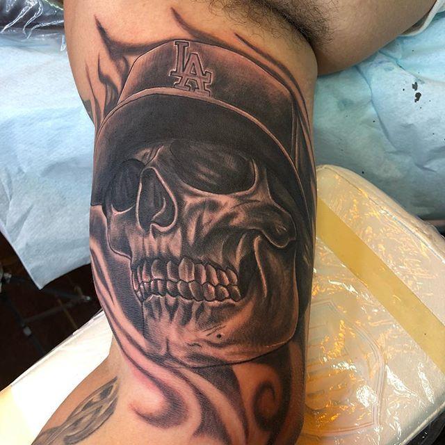 Great Skull With Cap Tattoo By Sysko Tattoofiesta
