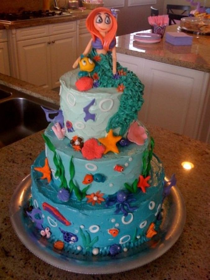 "mermaid princess cakes | Little Mermaid cake for 3-year-old's birthday. There was a ""Sebastian ..."