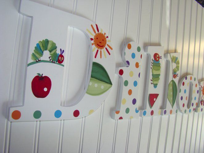 hungry caterpillar baby room decor | Very hungry caterpillar custom painted to match pbk, nursery wall ...