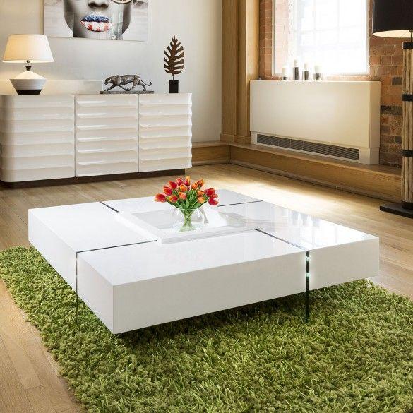 Quatropi Modern Large White Gloss Coffee Table 1194mm Square 30cm