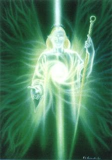 Archangel Raphael's color is emerald green.  Think of this color  (or meditate on the representation of Archangel Raphael above) and envision: Health ~ Prosperity ~ A Verdant, Pristine Earth ~ Earth's Population United in Loving Harmony