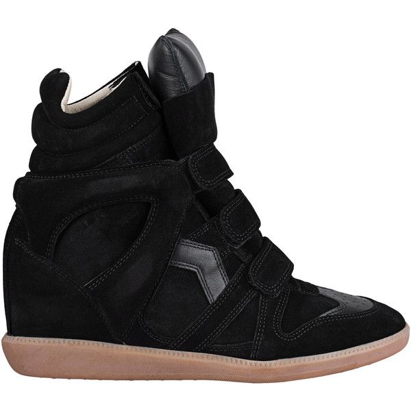 Isabel Marant Étoile Bekett Over Basket Black // Suede wedge sneakers (124.880 HUF) ❤ liked on Polyvore featuring shoes, sneakers, hidden wedge sneakers, black velcro sneakers, black suede shoes, retro sneakers and black wedge shoes