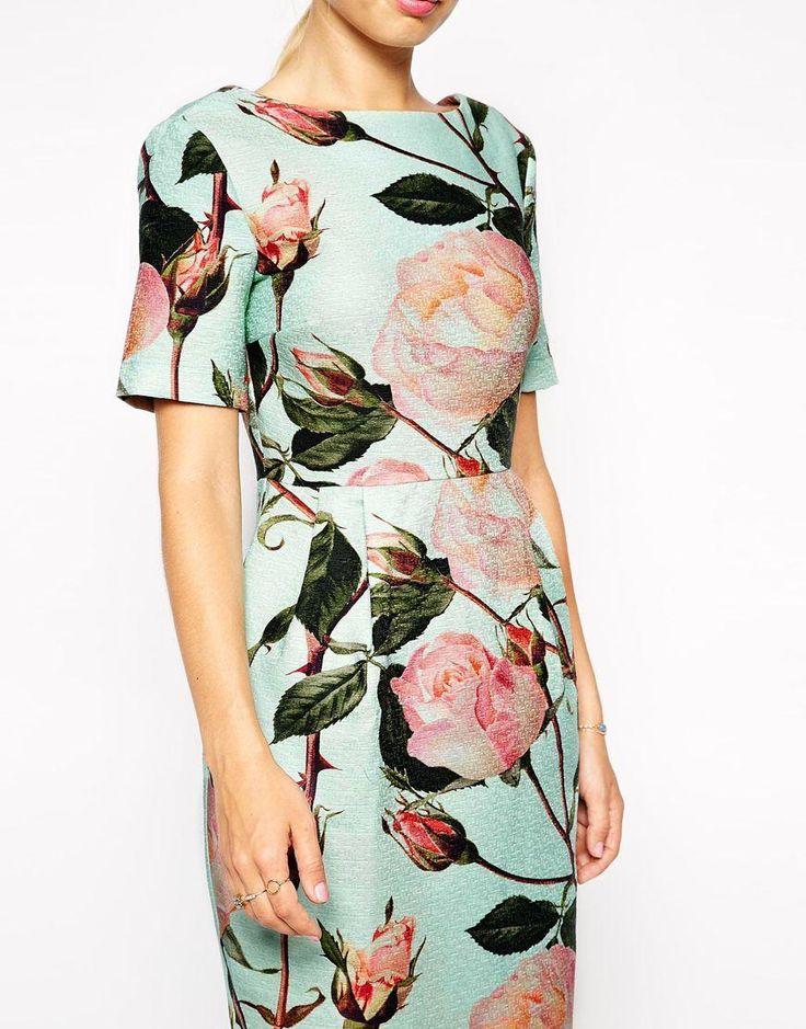 ASOS | ASOS Wiggle Dress in Textured Large Floral Print at ASOS