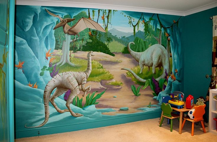 Fun kids' bedroom comes alive with the Jurassic Age mural!