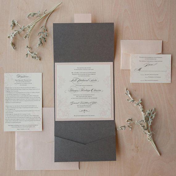 Pink and Grey Wedding Invitation Pocket Fold by JenSimpsonDesign