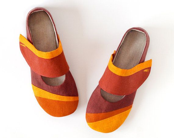 Gea women house shoes with non slip soles, ballet flats slippers earth  brown, terracotta & orange linen