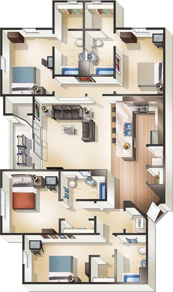 Planta 3d De Casa Com Quatro Quartos Sendo Duas Suites Com Closet